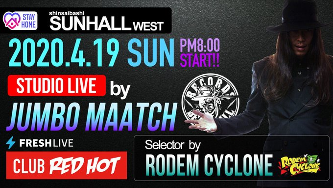 STAY HOME!CLUB RED HOT – JUMBO MAATCH STUDIO LIVE – / FRESH LIVEで放送